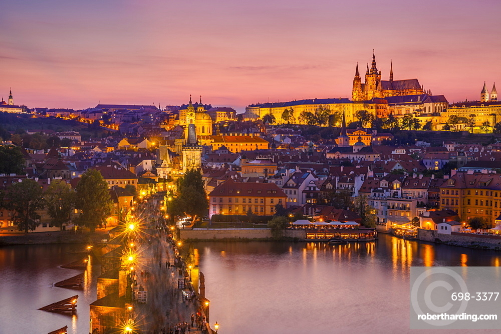 Prague skyline at night with Charles bridge, River Vltava, Prague castle and St Vitus cathedral Prague, Czech Republic, Europe