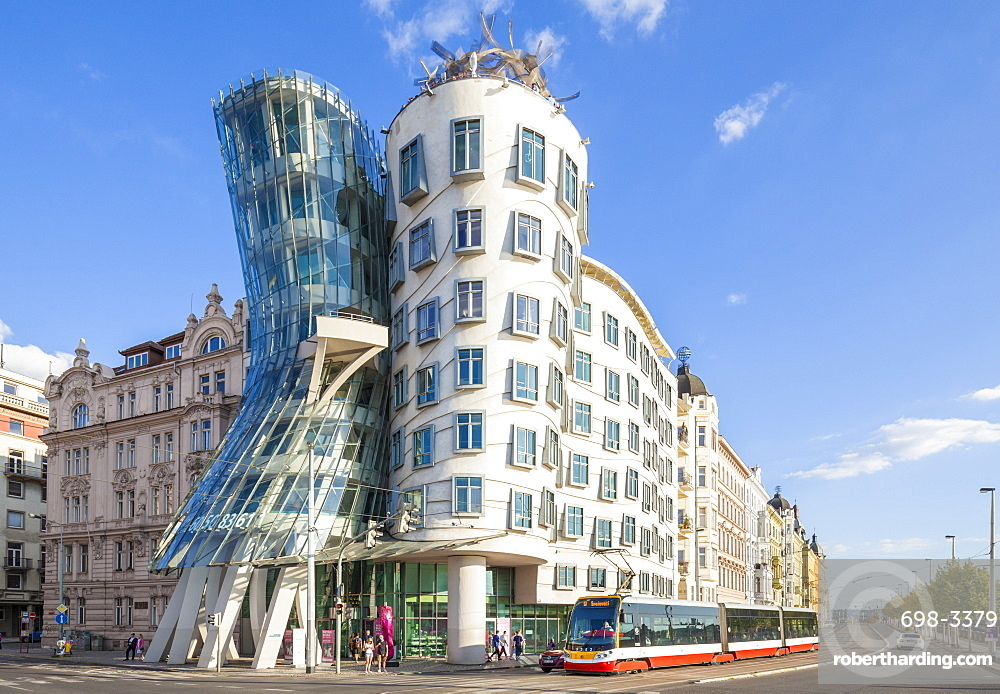 Prague Dancing House or Ginger and Fred, Tančící dům, by Frank Gehry and Vlado Milunic , Prague,Czech Republic, EU, Europe