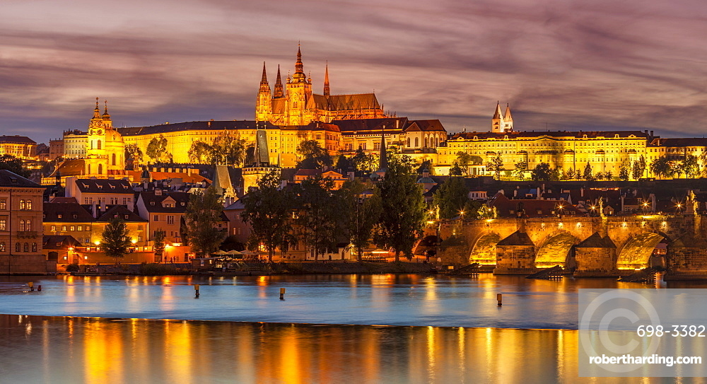 Prague skyline at night with Prague castle, St Vitus cathedral, Mala Strana and Charles bridge, Prague, Czech republic, Europe