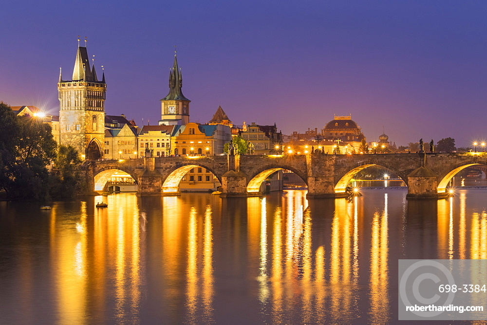 Prague Charles bridge, Old town bridge tower and river Vltava at night, Prague, Czech republic, EU, Europe