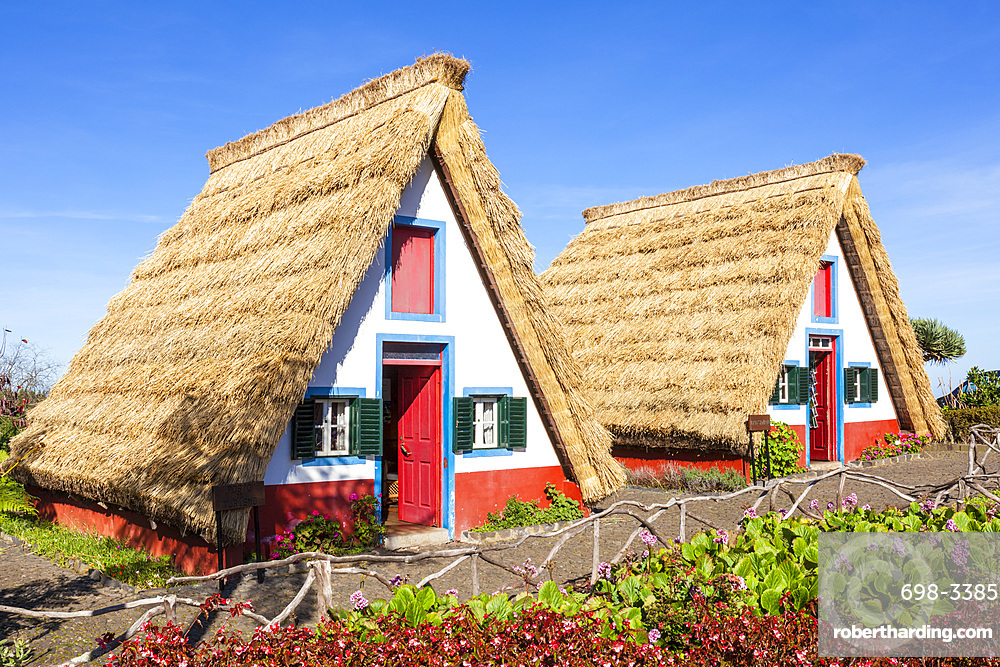 Traditional triangular thatched A-framed Palheiro Houses, Santana, Madeira, Portugal, Atlantic, Europe
