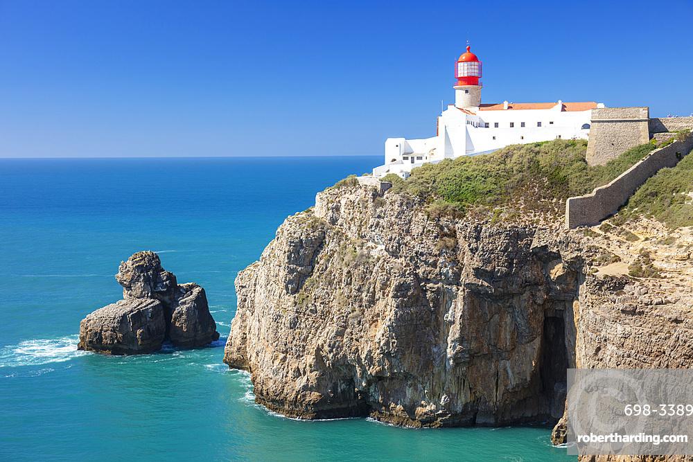 Cape St. Vincent Lighthouse, West Algarve Coast, Cape St. Vincent, Sagres, Algarve, Portugal, Europe