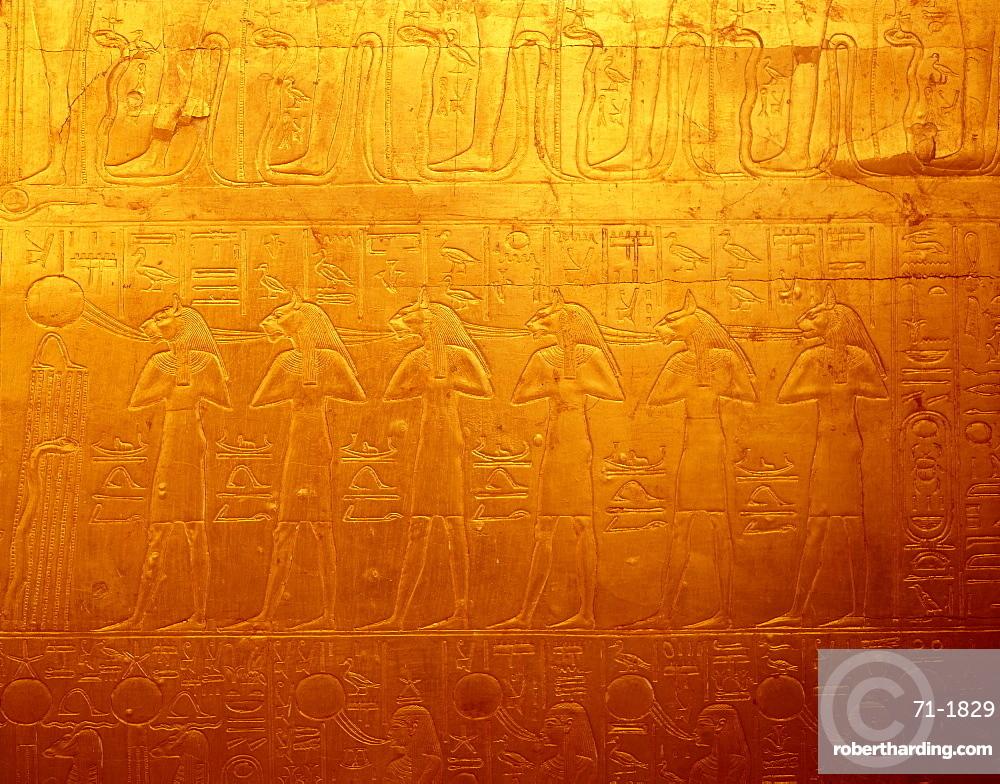 Detail of Sekhmet freize on shrine of Tutankhamun, Cairo Museum, Egypt, North Africa, Africa