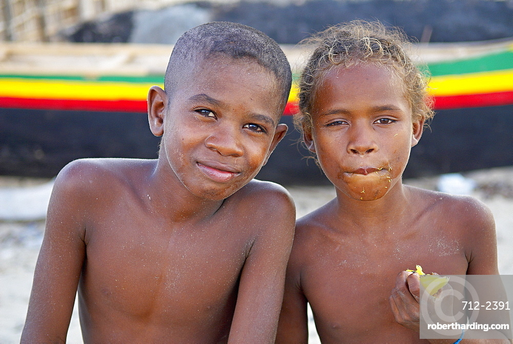 Two children in fishing village of Vezo ethnic group, around Tulear, Ifaty, Madagascar, Africa