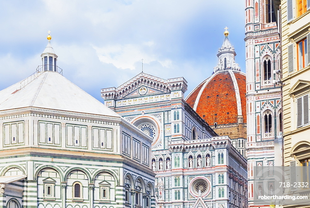 View of Unesco's Duomo Santa Maria del Fiore, Giotto's Campanile and Brunelleschi's dome, Florence, Tuscany, Italy, Europe