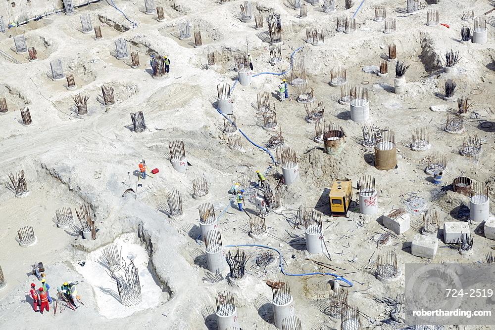 Construction site, The Palm Jumeirah, Dubai, United Arab Emirates, Middle East