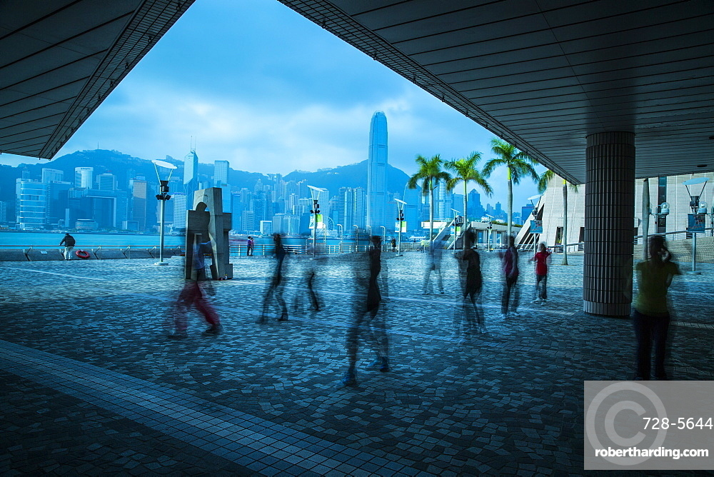 Ghost figures on waterfront, Kowloon, Hong Kong, China, Asia