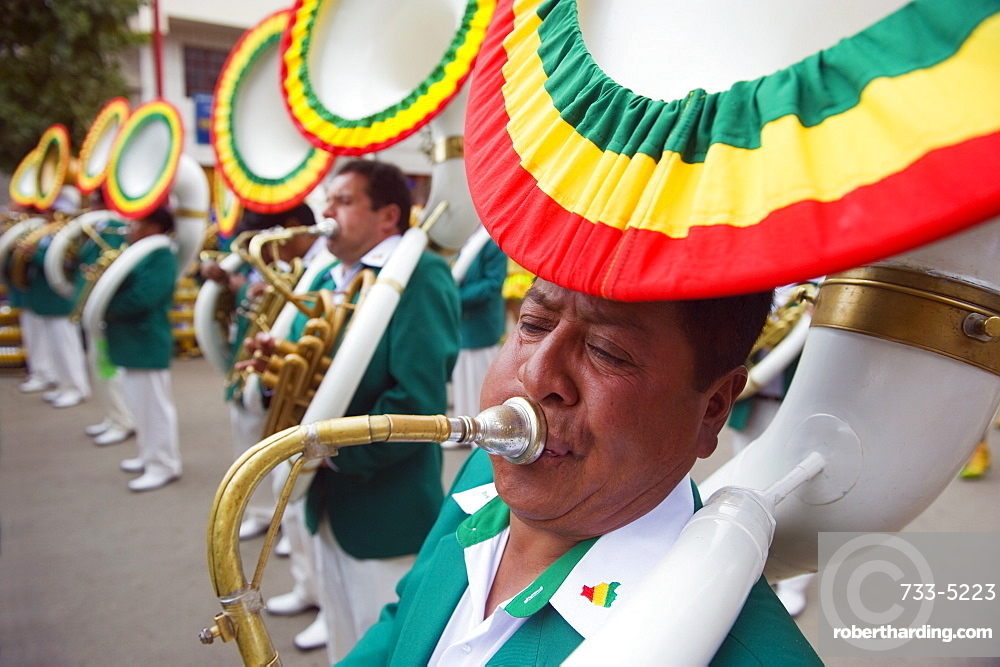 Sousophone players at Oruro Carnival, Oruro, Bolivia, South America