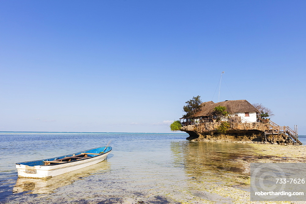 The Rock restaurant in the sea, Pingwe, Island of Zanzibar, Tanzania, East Africa, Africa
