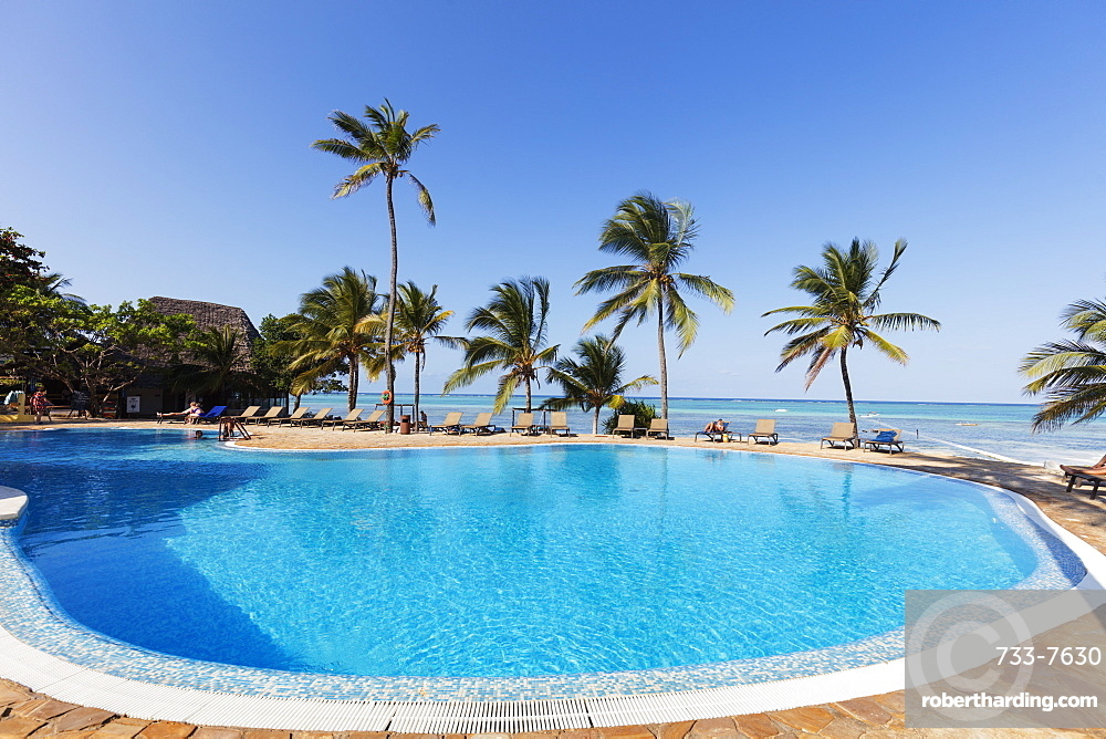 Karafuu Beach Resort swimming pool, Pingwe, Island of Zanzibar, Tanzania, East Africa, Africa