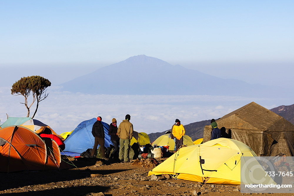 Tents at Umbwe camp with view of Mount Meru, 4565m, Kilimanjaro National Park, UNESCO World Heritage Site, Tanzania, East Africa, Africa