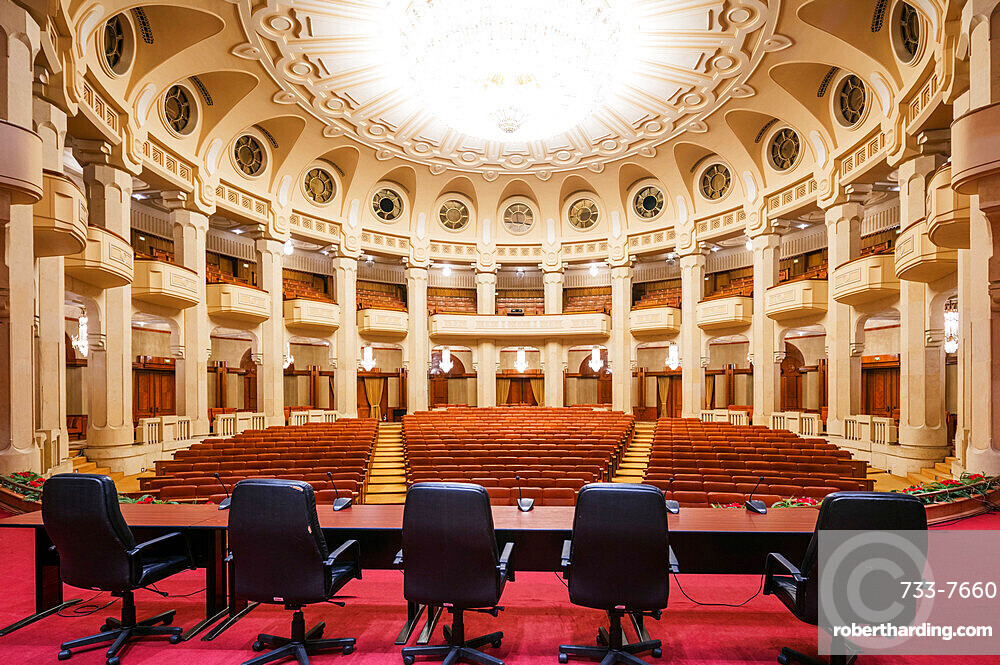 Palace of the Parliament, second biggest building in the world, theatre room, Bucharest, Romania, Europe