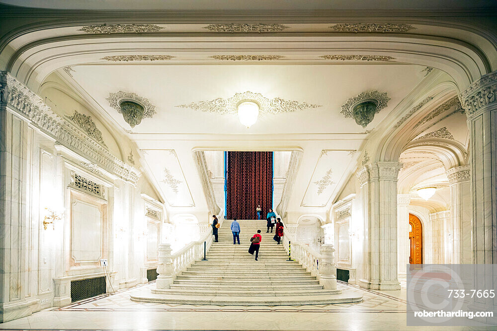 Palace of the Parliament, second biggest building in the world, marble staircase, Bucharest, Romania, Europe