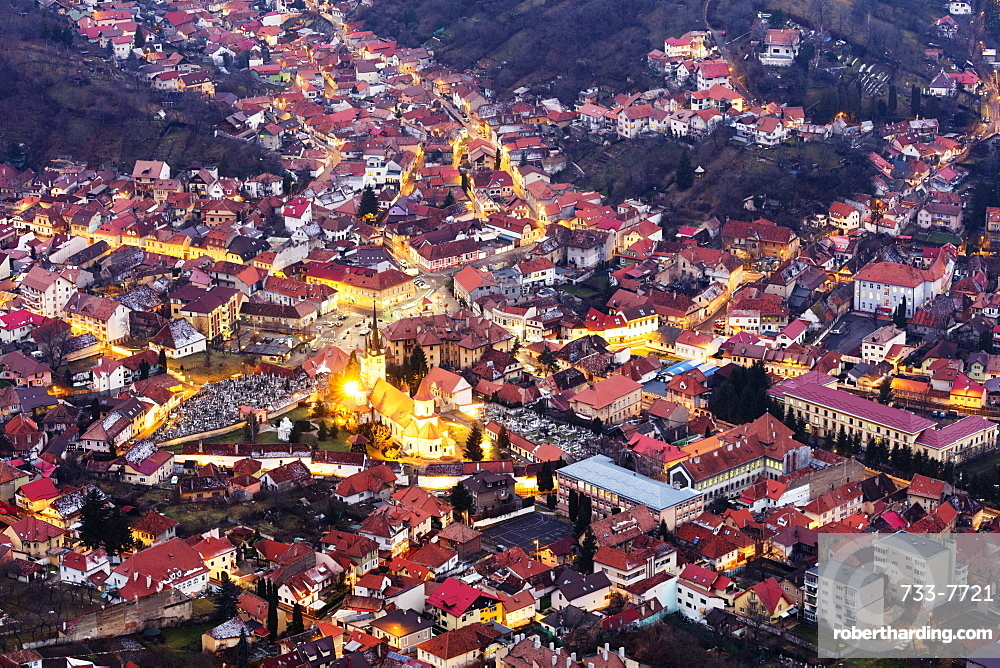 Hilltop view of Brasov, Romania, Europe