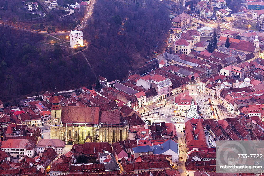 Hilltop view of Brasov old town, The Black Church and History Museum, Brasov, Romania, Europe