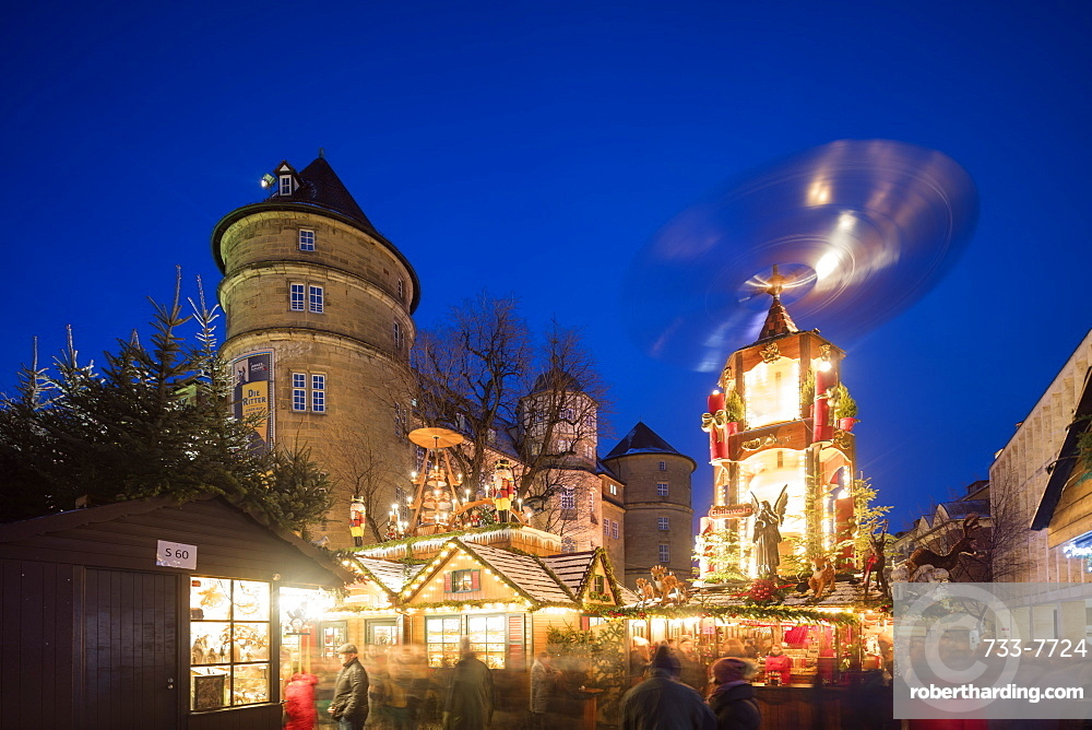 Christmas market at Schillerplatz, Stuttgart, Baden-Wurttemberg, Germany, Europe