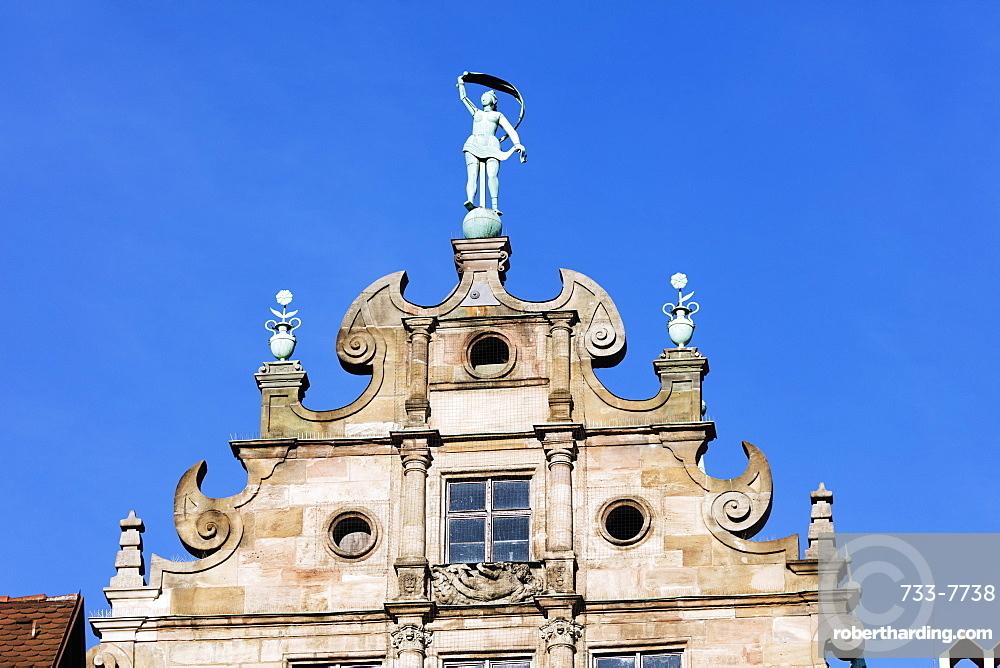 Ornate building facade, Nuremberg (Nurnberg), Franconia, Bavaria, Germany, Europe
