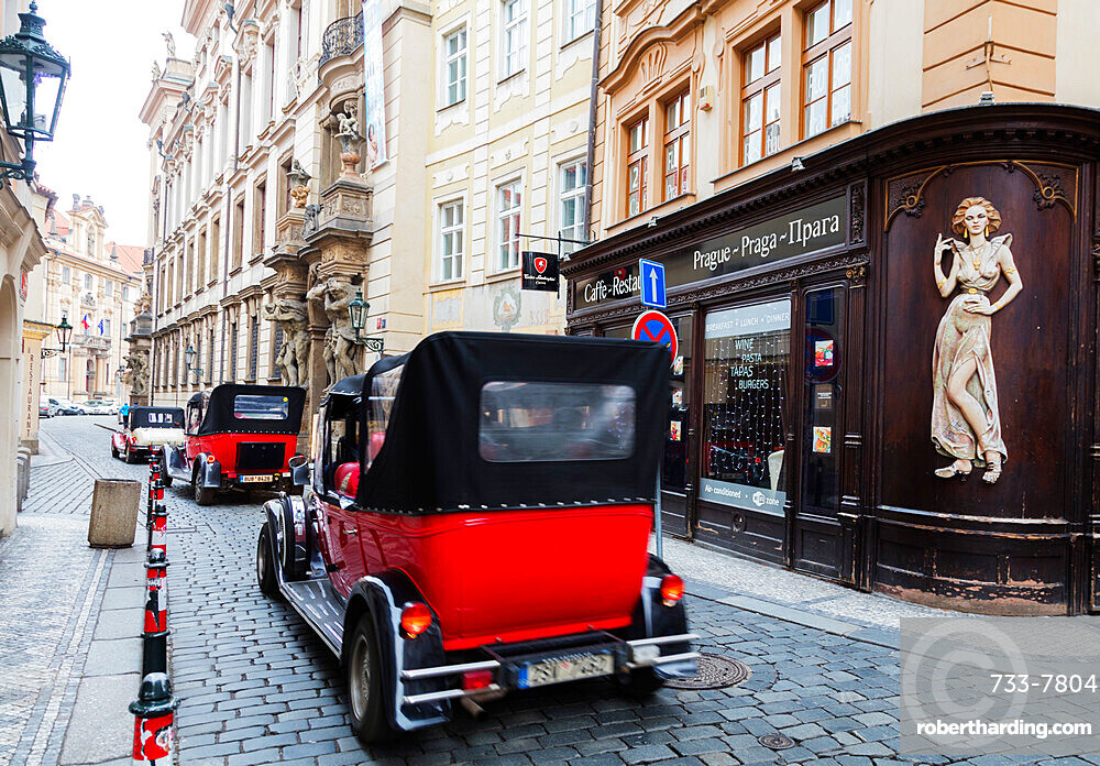 Classic cars in the old town, Prague, Czech Republic, Europe
