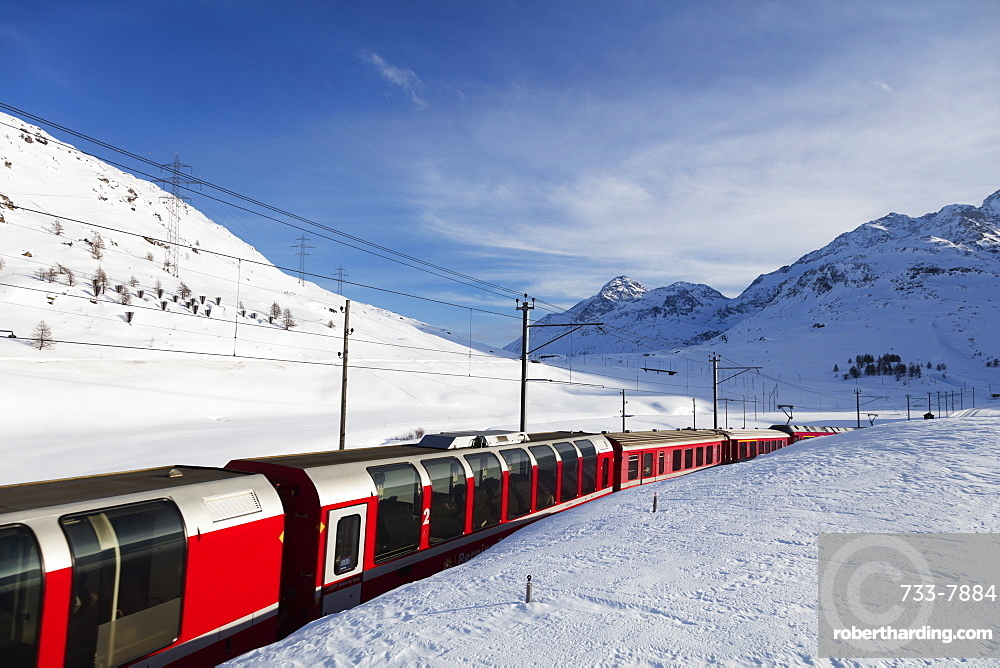 Rhaetian Railway near Albula Bernina Pass, UNESCO World Heritage Site, Engadine, Switzerland, Europe