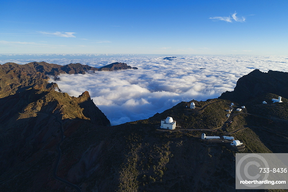 Europe, Spain, Canary Islands, La Palma, Unesco Biosphere site, aerial view of telescope observatory near National Park Caldera de Taburiente