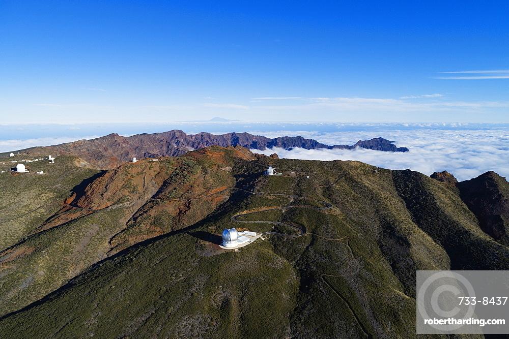 Europe, Spain, Canary Islands, La Palma, Unesco Biosphere site, aerial view of telescope observatory near National Park Caldera de Taburiente