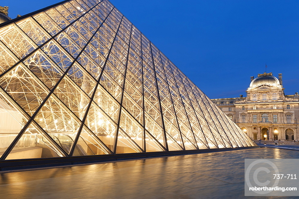 Glass pyramid, Louvre, Paris, France, Europe