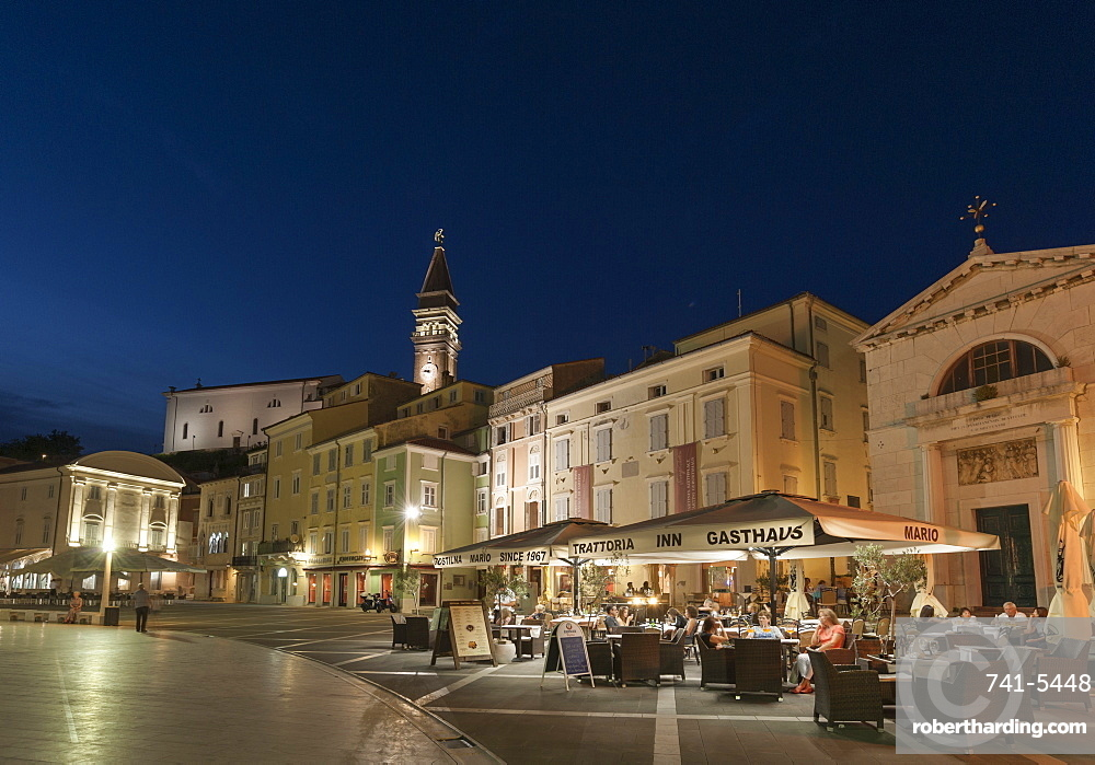 Tartini square at dusk, Piran, Slovenia, Europe