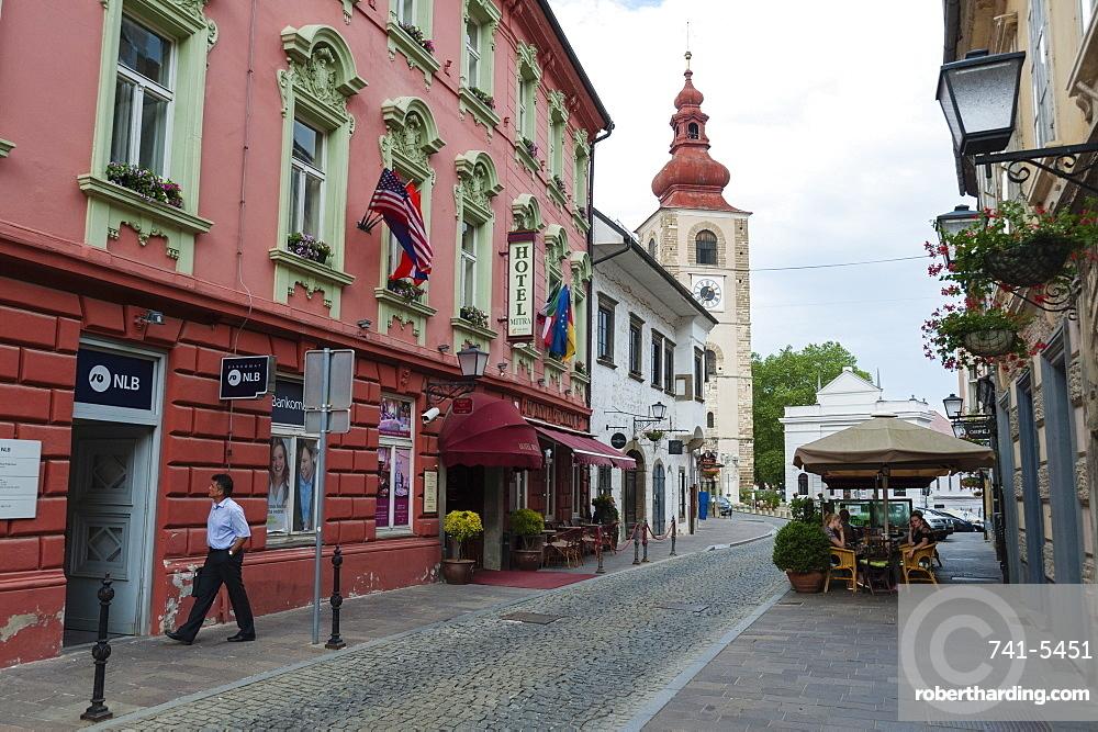 Cankarjeva street and the City Tower, Ptuj, Slovenia, Europe