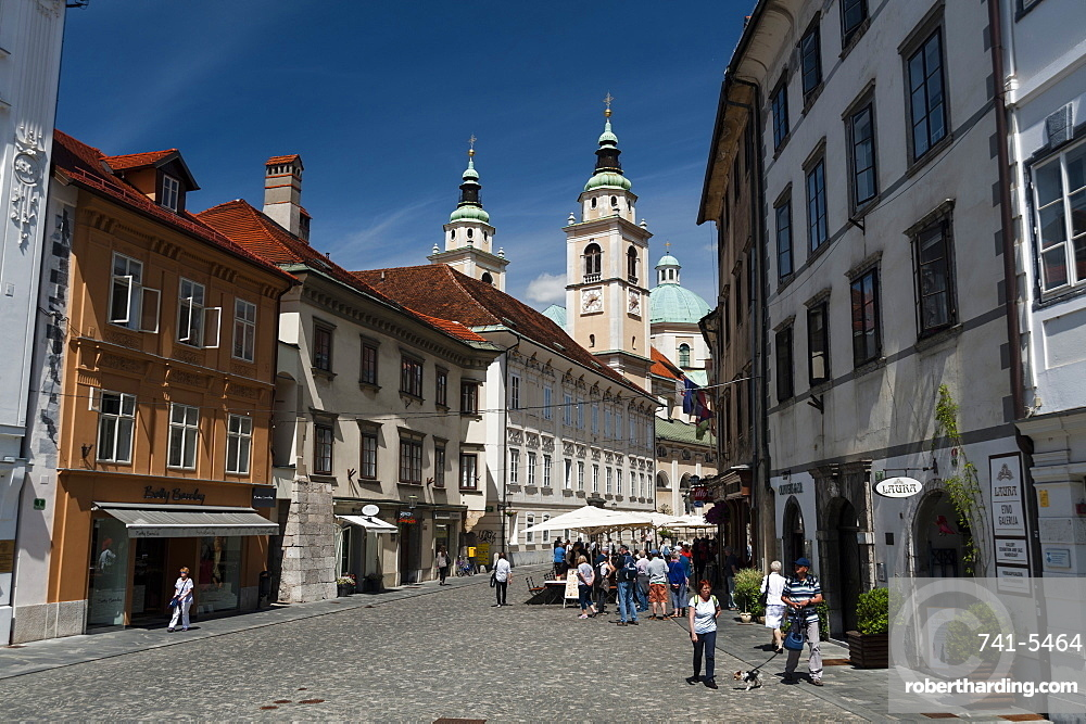 Buildings in Town Square and the cathedral of Saint Nicholas in the background, Ljubljana, Slovenia.