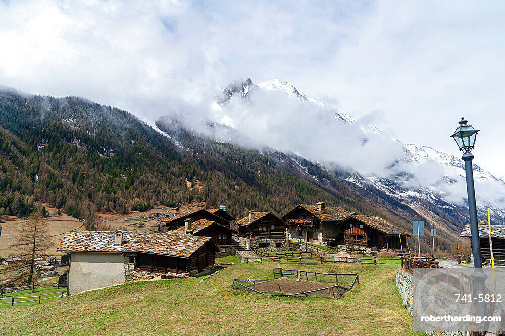 The village of Tignet in the Gran Paradiso National Park, Aosta Valley, Italy.