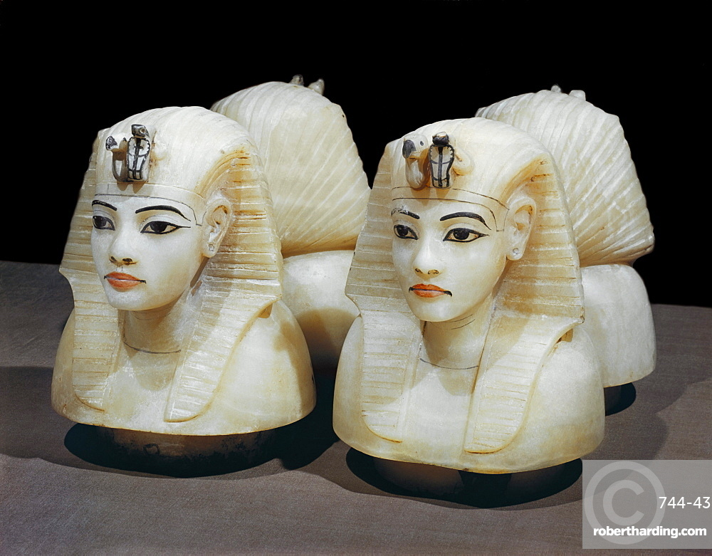 Stoppers in the form of the king's head from the four canopic urns, from the tomb of the pharaoh Tutankhamun, discovered in the Valley of the Kings, Thebes, Egypt, North Africa, Africa