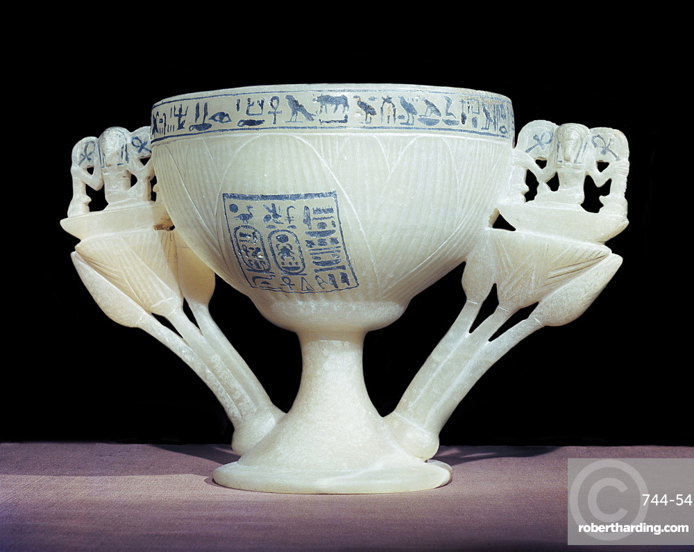 Calcite drinking cup in shape of lotus flower, from the tomb of the pharaoh Tutankhamun, discovered in the Valley of the Kings, Thebes, Egypt, North Africa, Africa