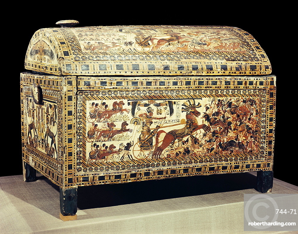 The painted box of stuccoed wood showing the king in his chariot, from the tomb of the pharaoh Tutankhamun, discovered in the Valley of the Kings, Thebes, Egypt, North Africa, Africa