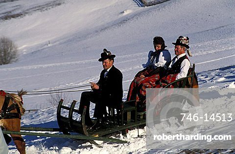 A peasant wedding, A sleigh of the relations, Castelrotto, Trentino Alto Adige, Italy.