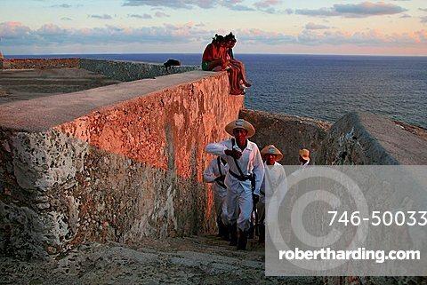 The lowering of the flag, Castle of Morro (Castillo del Morro), Santiago de Cuba, Cuba, West Indies, Central America