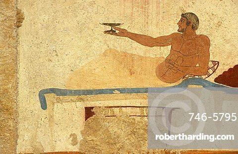 Banquet, mural, Tomba del Tuffatore, Paestum archaeological park, Campania, Italy