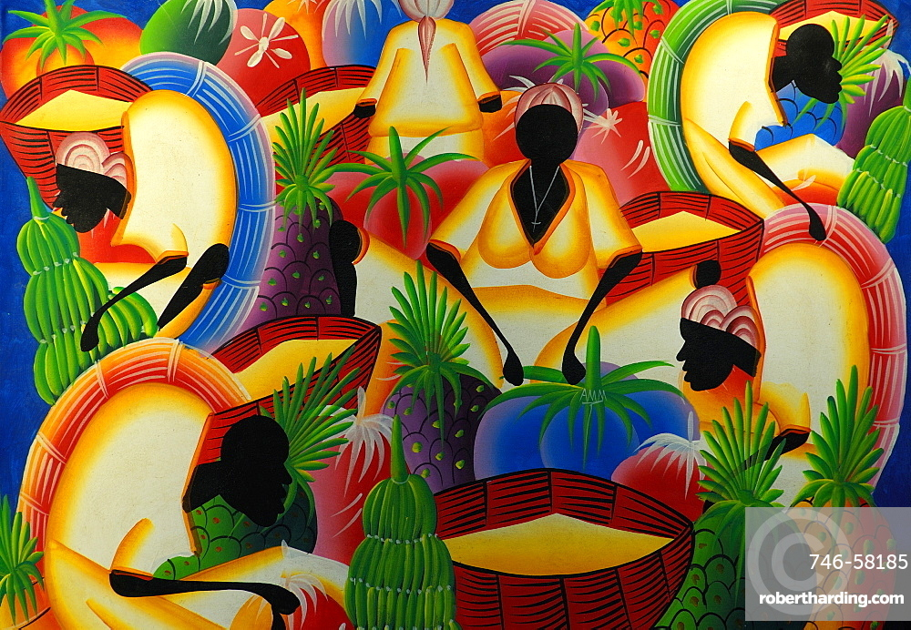caribbean traditional painting punta cana stock photo