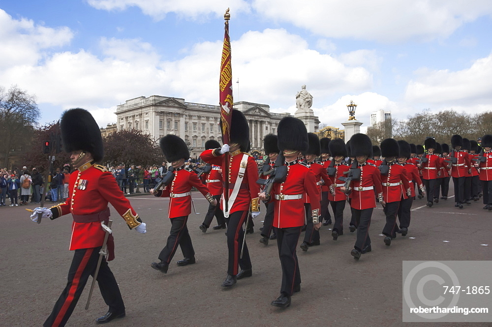 Coldstream Guards parading en route to Buckingham Palace, London, England, United Kingdom, Europe