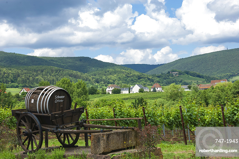 Pfalz wine area, ancient Barrel cart, Rhineland-Palatinate, Germany, Europe