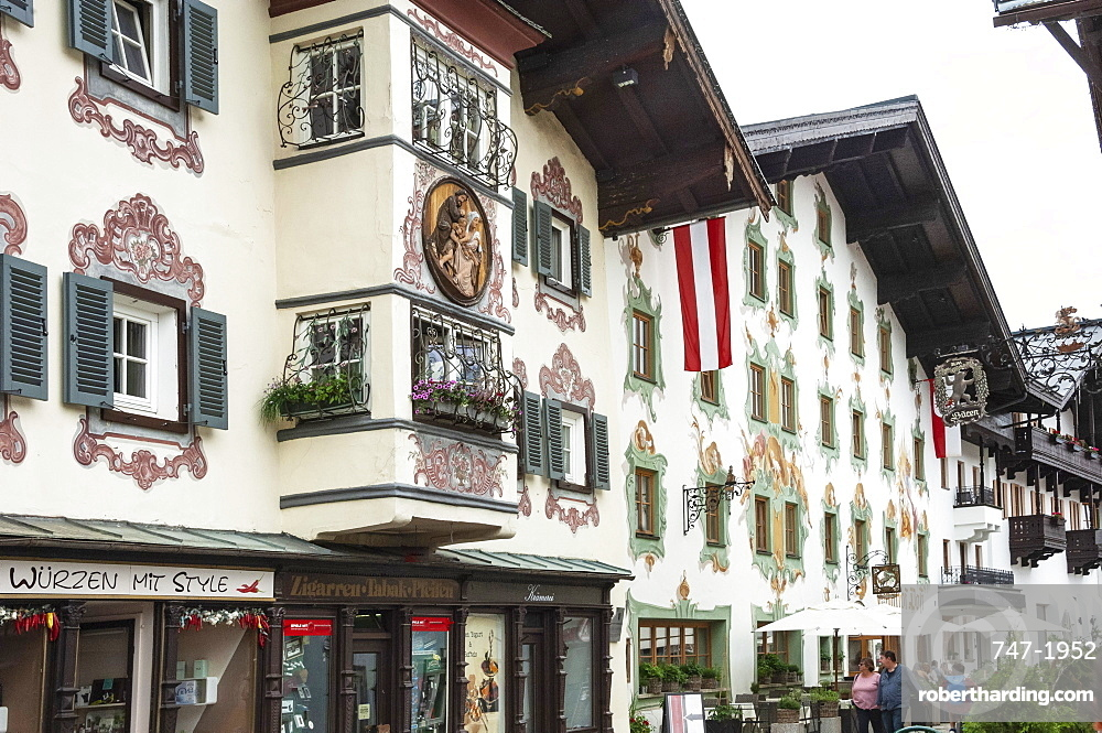 Traditional architecture with mural and wall decoration, St. Johann in Tyrol, Austria, Europe