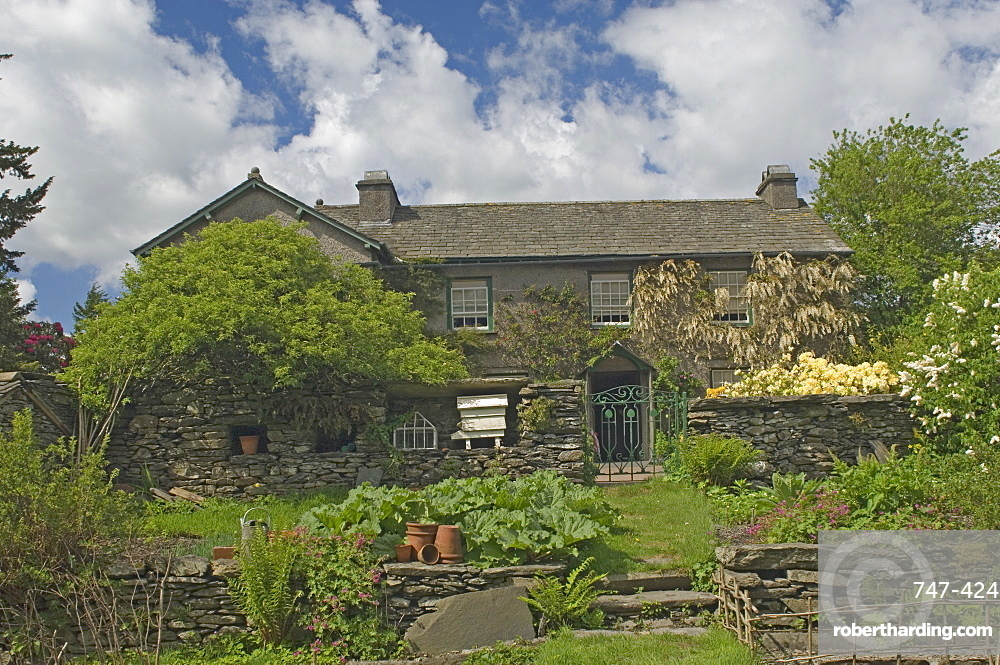 Hilltop, the home of Beatrix Potter, from the kitchen garden, Near Sawrey, Lake District National Park, Cumbria, England, United Kingdom, Europe