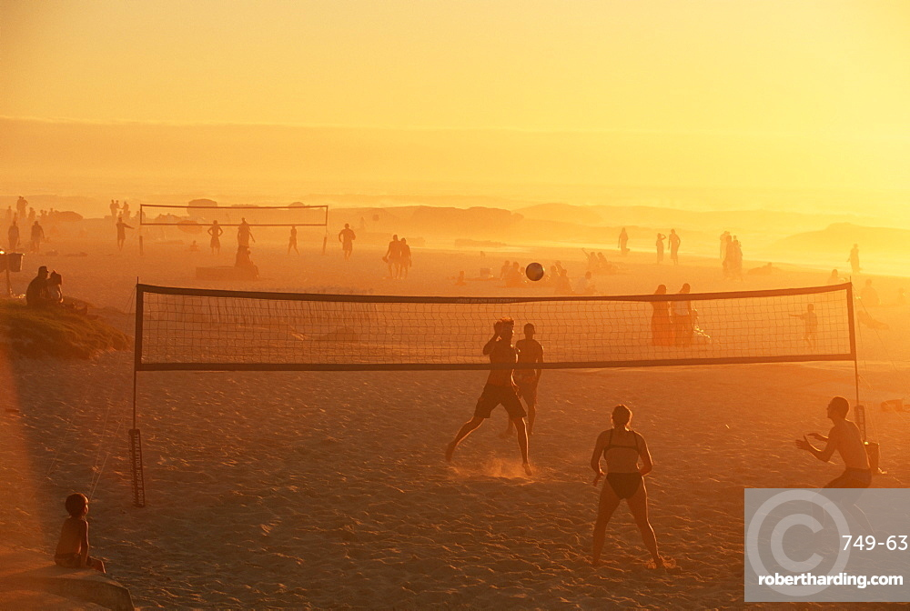 Beach volleyball game, late afternoon, Camps Bay, Cape Town, South Africa, Africa