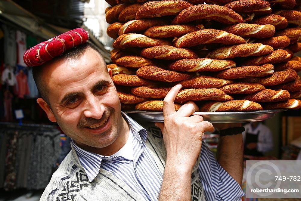 Simit bread seller, Istanbul, Turkey, Europe
