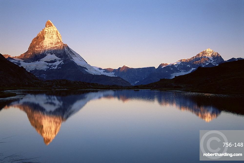 Matterhorn from Riffelsee at dawn, Zermatt, Swiss Alps, Switzerland, Europe