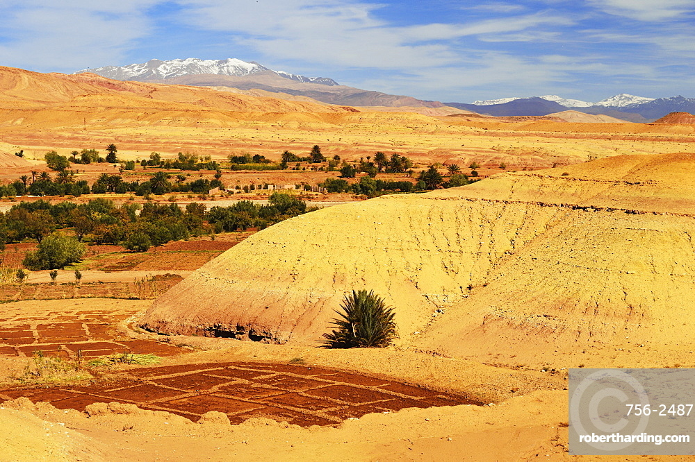 View of High Atlas mountains, Ait-Benhaddou, Morocco, North Africa, Africa