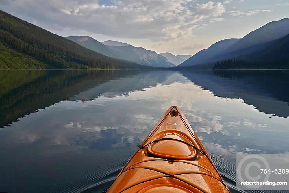 Kayaking on Cameron Lake, Waterton Lakes National Park, Alberta, Canada