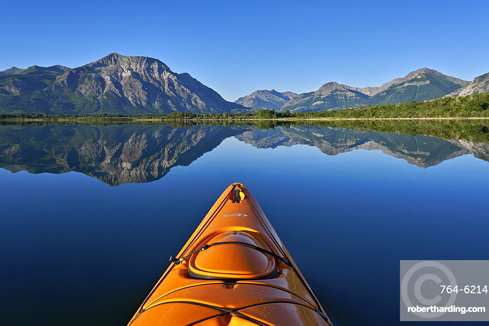Lower Waterton Lake from a kayak, Waterton Lakes National Park, Alberta, Canada, North America