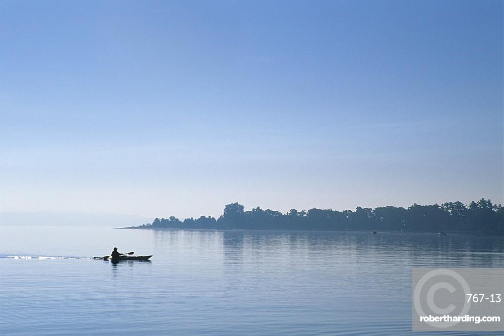Kayaker, Little Traverse Bay, Lake Michigan, Michigan, United States of America, North America