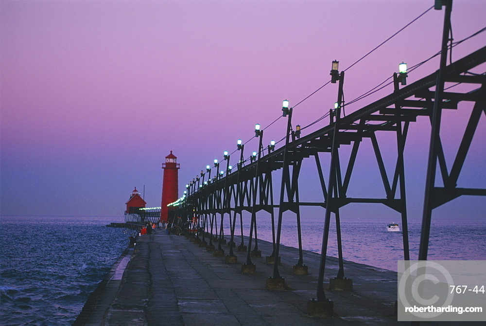 Grand Haven Lighthouse on Lake Michigan, Grand Haven, Michigan, United States of America, North America