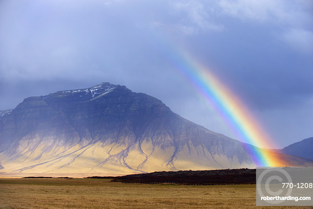 Rainbow over hills, Snaefellsnes Peninsula, West Iceland, Iceland, Polar Regions